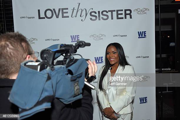 Ellen Carter Rucker of Love Thy Sister talks to media at the WE tv premiere party at Bar One on January 8 2015 in Charlotte North Carolina