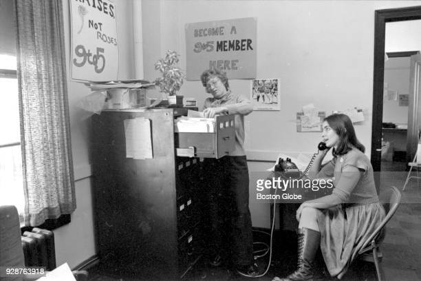 Ellen Cassidy and Karen Nussbaum cofounders of the 9 to 5 organization for women office workers work in their office at the Clarendon Street YMCA in...