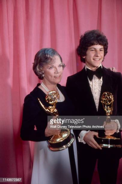Ellen Corby Scott Jacoby with their Emmy Awards appearing on the 1973 / 25th Primetime Emmy Awards Shubert Theatre May 20 1973