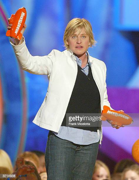Ellen DeGeneres accepts an award during Nickelodeon's 17th Annual Kids' Choice Awards at Pauley Pavilion on the campus of UCLA April 3 2004 in...
