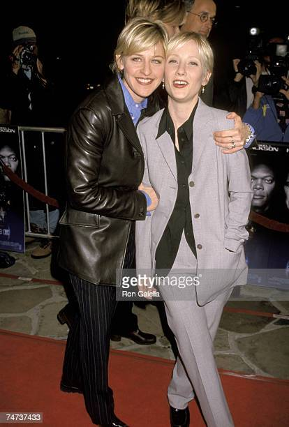 Ellen DeGeneres and Anne Heche at the Mann Village Theatre in Westwood, California