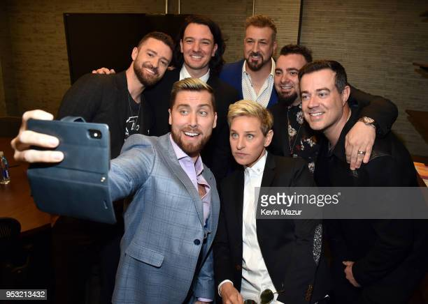 Ellen DeGeneres and Carson Daly attend the ceremony as Justin Timberlake JC Chasez Lance Bass Joey Fatone and Chris Kirkpatrick of NSYNC are honored...