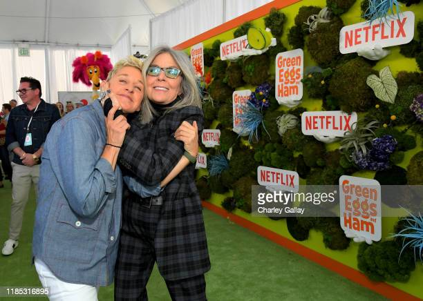 Ellen DeGeneres and Diane Keaton attend Netflix 'Green Eggs Ham' Los Angeles Premiere at Post 43 on November 03 2019 in Los Angeles California