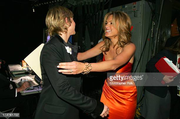 Ellen DeGeneres and Mariska Hargitay during 57th Annual Primetime Emmy Awards Backstage Audience and Architectural Digest Green Room at The Shrine in...