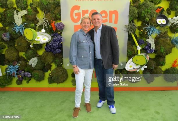 Ellen DeGeneres and Netflix Chief Content Officer Ted Sarandos attend Netflix 'Green Eggs & Ham' Los Angeles Premiere at Post 43 on November 03, 2019...