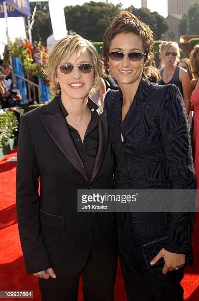Ellen Degeneres and partner Alexandra Hedison during 55th Annual Primetime Emmy Awards - Red Carpet at The Shrine Auditorium in Los Angeles,...