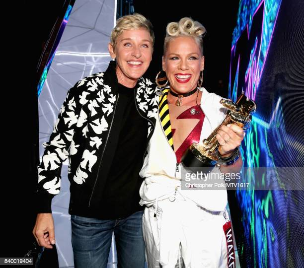 Ellen DeGeneres and Pink attend the 2017 MTV Video Music Awards at The Forum on August 27 2017 in Inglewood California