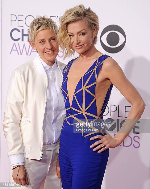 Ellen DeGeneres and Portia de Rossi arrive at The 41st Annual People's Choice Awards at Nokia Theatre LA Live on January 7 2015 in Los Angeles...