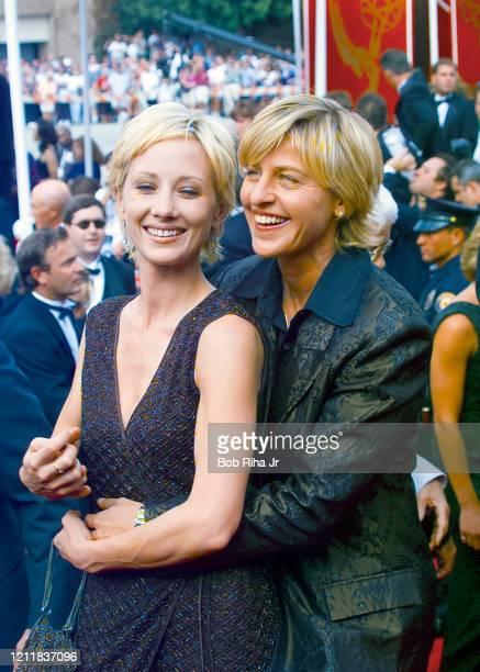 Ellen DeGeneres and Portia de Rossi arrive at the 49th Annual Emmy Awards, September 14, 1997 in Pasadena, California.