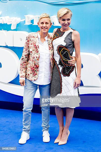 Ellen DeGeneres and Portia de Rossi arrives for the UK Premiere of 'Finding Dory' at Odeon Leicester Square on July 10 2016 in London England