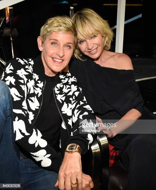 Ellen DeGeneres and Portia de Rossi attend the 2017 MTV Video Music Awards at The Forum on August 27 2017 in Inglewood California