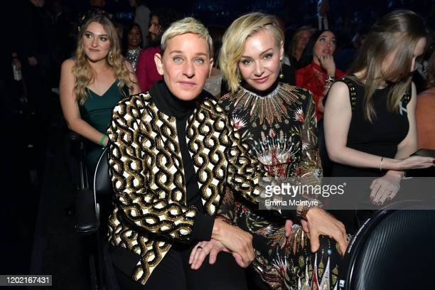 Ellen DeGeneres and Portia de Rossi attend the 62nd Annual GRAMMY Awards at STAPLES Center on January 26 2020 in Los Angeles California