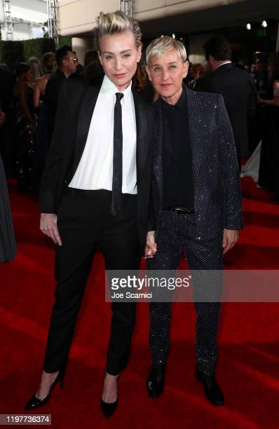 Ellen DeGeneres and Portia de Rossi attend the 77th Annual Golden Globe Awards at The Beverly Hilton Hotel on January 05, 2020 in Beverly Hills,...