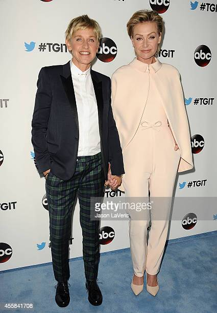 Ellen DeGeneres and Portia de Rossi attend the #TGIT premiere event hosted by Twitter at Palihouse Holloway on September 20 2014 in West Hollywood...
