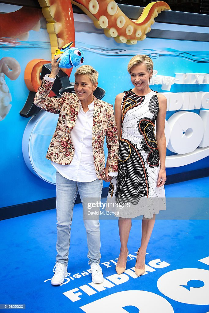 Ellen DeGeneres and Portia de Rossi attend the UK Premiere of 'Finding Dory' at the Odeon Leicester Square on July 10, 2016 in London, England.