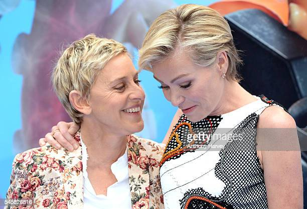 """Ellen DeGeneres and Portia de Rossi attend the UK Premiere of """"Finding Dory"""" at Odeon Leicester Square on July 10, 2016 in London, England."""