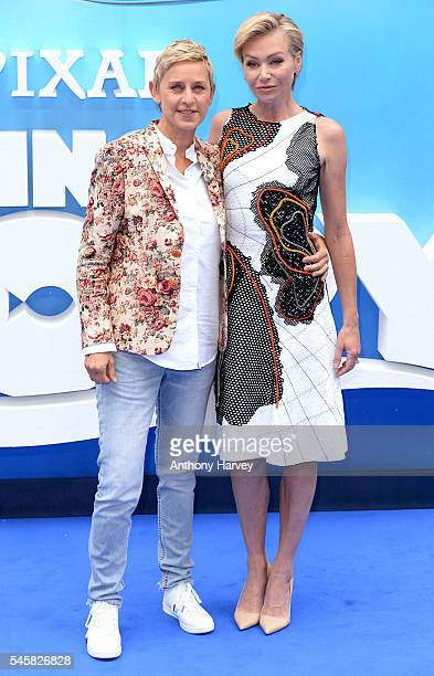 Ellen DeGeneres and Portia de Rossi attend the UK Premiere of 'Finding Dory' at Odeon Leicester Square on July 10 2016 in London England