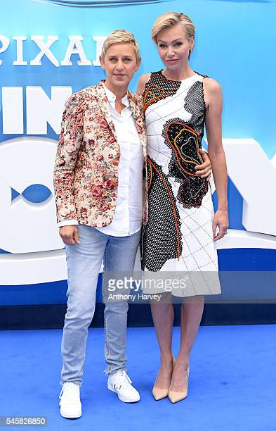 Ellen DeGeneres and Portia de Rossi attend the UK Premiere of Finding Dory at Odeon Leicester Square on July 10 2016 in London England