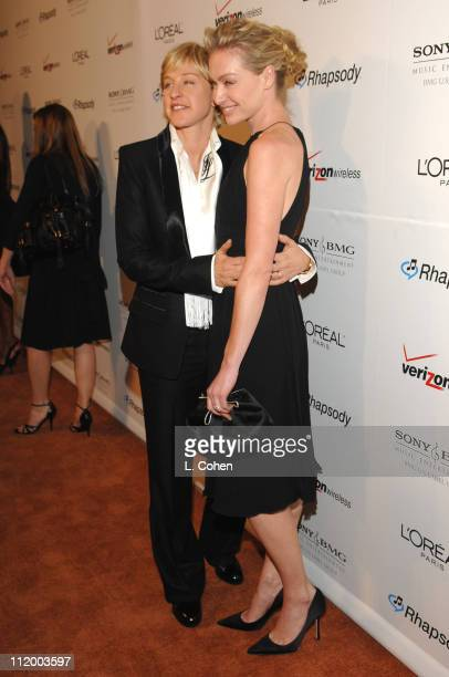 Ellen DeGeneres and Portia de Rossi during 2007 Clive Davis PreGRAMMY Awards Party Red Carpet at Beverly Hills Hilton in Beverly Hills California...