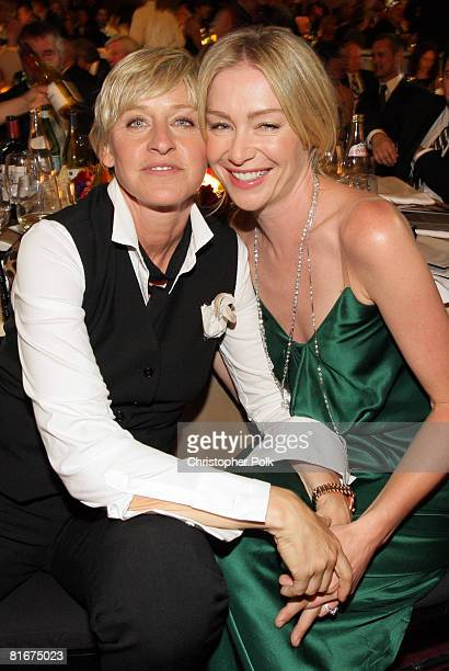 Ellen DeGeneres and Portia de Rossi during the 35th Annual Daytime Emmy Awards at the Kodak Theatre on June 20 2008 in Los Angeles California