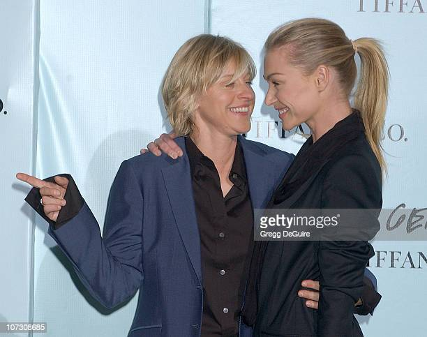 Ellen DeGeneres and Portia de Rossi during Tiffany Co Celebrates The Launch Of Frank Gehry's Premier Collection On Rodeo Drive Arrivals at Tiffany Co...