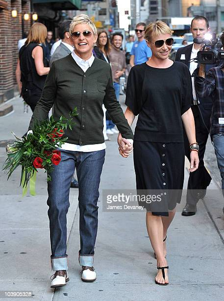 Ellen Degeneres and Portia De Rossi visit 'Late Show With David Letterman' at the Ed Sullivan Theater on September 7 2010 in New York City