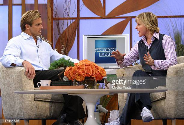 Ellen Degeneres and Pro Surfer Laird Hamilton during Ellen DeGeneres and Laird Hamilton at the American Express Global AD Campaign Launch Event at...