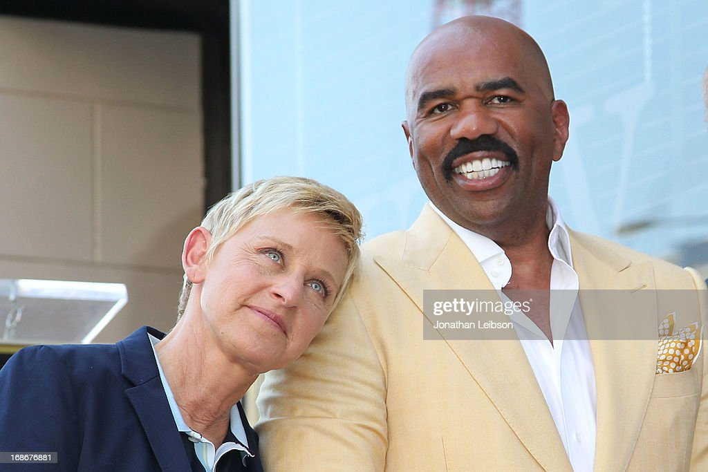 Ellen DeGeneres and Steve Harvey attend the ceremony honoring Steve Harvey with a Star on The Hollywood Walk of Fame held on May 13, 2013 in Hollywood, California.