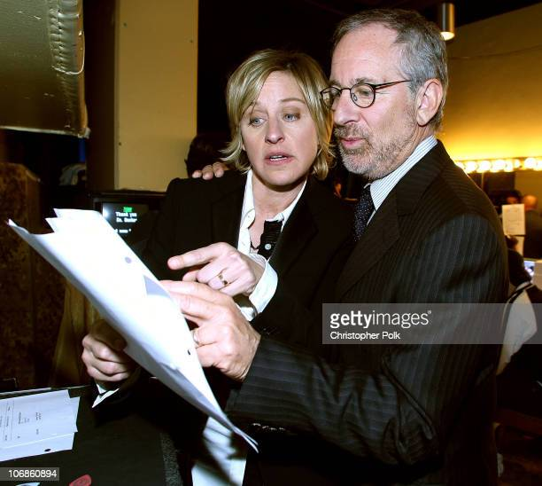 Ellen DeGeneres and Steven Spielberg during Saks Fifth Avenue's Unforgettable Evening Benefiting Women's Cancer Research Fund Arrivals and Inside at...