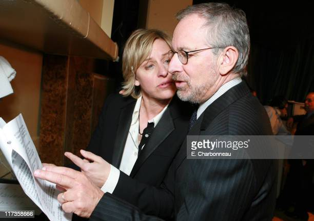 Ellen DeGeneres and Steven Spielberg during Saks Fifth Avenue's Unforgettable Evening Benefitting EIF's Women's Cancer Research Fund at Regent...
