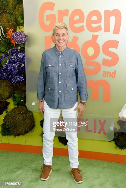 "Ellen DeGeneres arrives at the Premiere Of Netflix's ""Green Eggs And Ham"" at Hollywood American Legion on November 3, 2019 in Los Angeles, California."