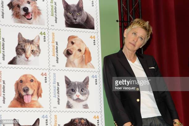 """Ellen DeGeneres attends the """"Animal Recues: Adopt A Shelter Pet"""" commemorative stamp ceremony at Academy of Television Arts & Sciences on April 30,..."""