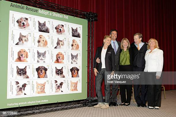 """Ellen DeGeneres attends the """"Animal Rescues: Adopt A Shelter Pet"""" commemorative stamp ceremony at Academy of Television Arts & Sciences on April 30,..."""