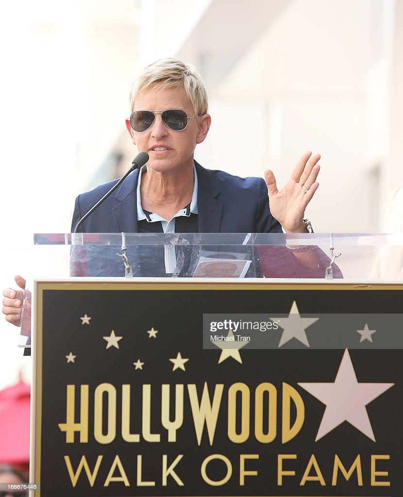 Ellen DeGeneres attends the ceremony honoring Steve Harvey with a Star on The Hollywood Walk of Fame held on May 13, 2013 in Hollywood, California.