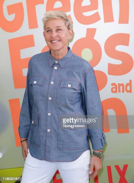 """Ellen DeGeneres attends the premiere of Netflix's """"Green Eggs And Ham"""" at Hollywood American Legion on November 03, 2019 in Los Angeles, California."""