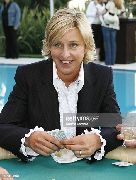 Ellen DeGeneres during GQ / Calvin Klein Celebrity Poker Tournament Benefiting Peace Games at Private Residence in Los Angeles, California, United...