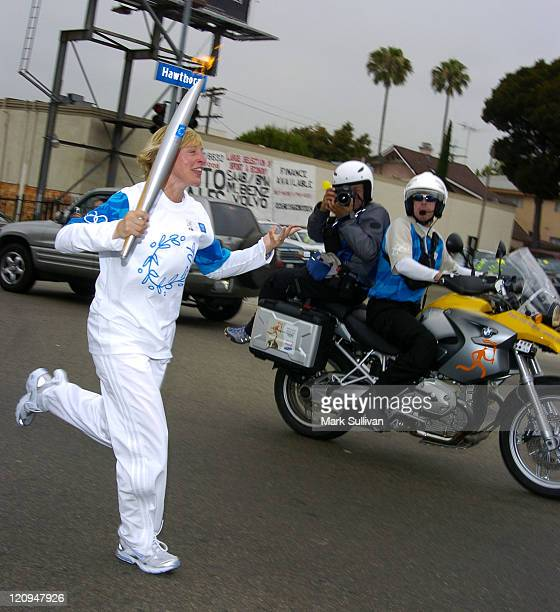 Ellen DeGeneres during the 2004 Olympic Torch Relay