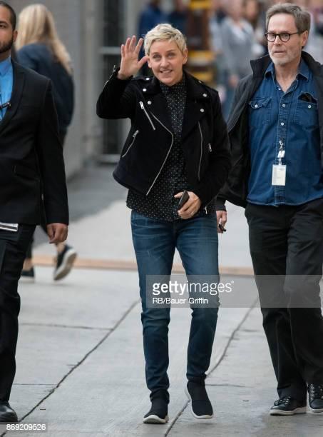 Ellen Degeneres is seen at 'Jimmy Kimmel Live' on November 01 2017 in Los Angeles California
