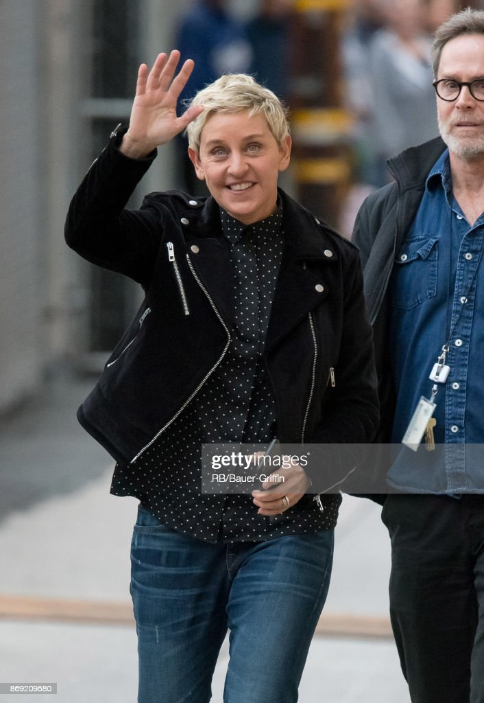 "Ellen Degeneres gave a wave at ""Jimmy Kimmel Live"" on Wednesday."