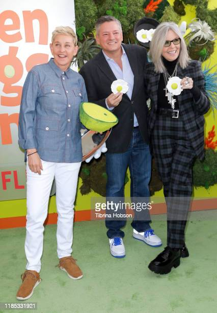 """Ellen DeGeneres, Netflix CCO Ted Sarandos, and Diane Keaton attend the premiere of Netflix's """"Green Eggs And Ham"""" at Hollywood American Legion on..."""
