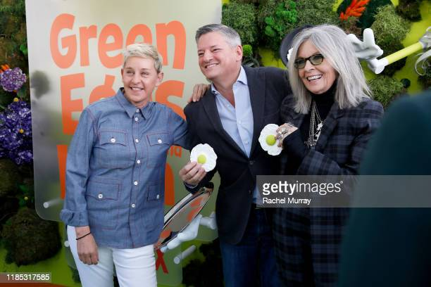 Ellen DeGeneres, Netflix Chief Content Officer Ted Sarandos, and Diane Keaton attend Netflix 'Green Eggs & Ham' Los Angeles Premiere at Post 43 on...