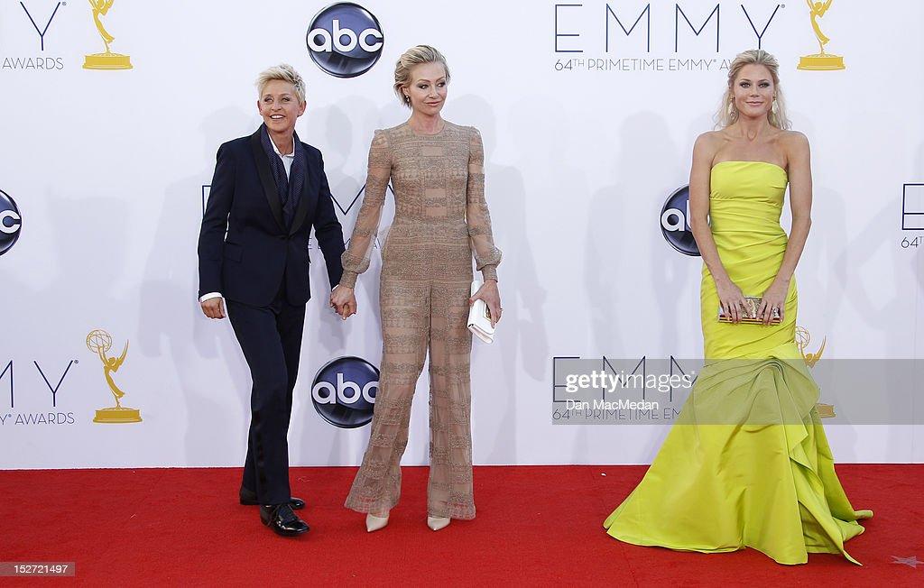 Ellen DeGeneres, Poria de Rossi and Julie Bowen arrives at the 64th Primetime Emmy Awards held at Nokia Theatre L.A. Live on September 23, 2012 in Los Angeles, California.