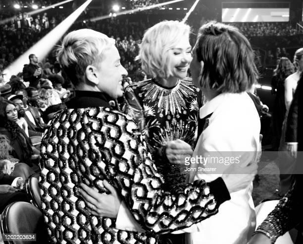 Ellen DeGeneres Portia de Rossi and Brandi Carlile attend the 62nd Annual GRAMMY Awards on January 26 2020 in Los Angeles California