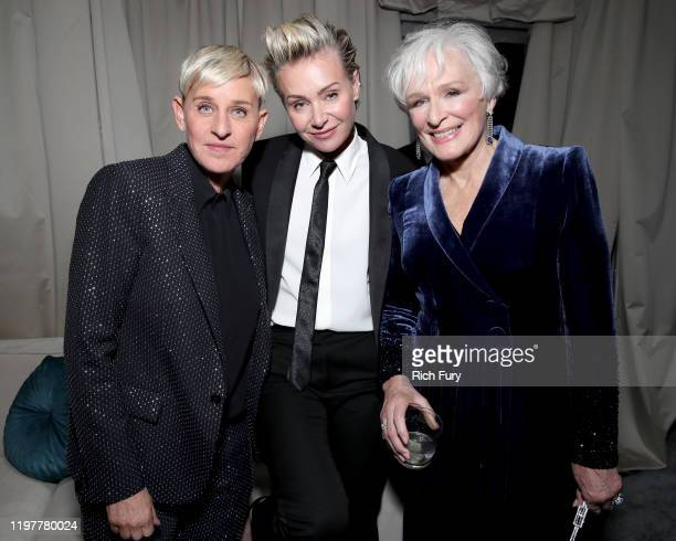 Ellen DeGeneres, Portia de Rossi and Glenn Close attend the Netflix 2020 Golden Globes After Party at The Beverly Hilton Hotel on January 05, 2020 in...