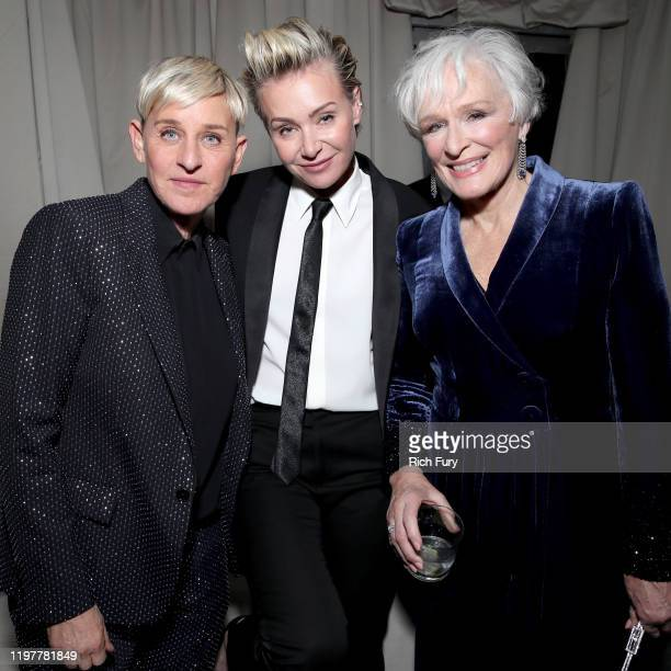 Ellen DeGeneres Portia de Rossi and Glenn Close attend the Netflix 2020 Golden Globes After Party at The Beverly Hilton Hotel on January 05 2020 in...