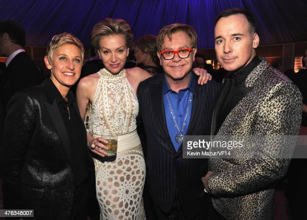 Ellen DeGeneres Portia de Rossi Elton John and David Furnish attend the 2014 Vanity Fair Oscar Party Hosted By Graydon Carter on March 2 2014 in West...