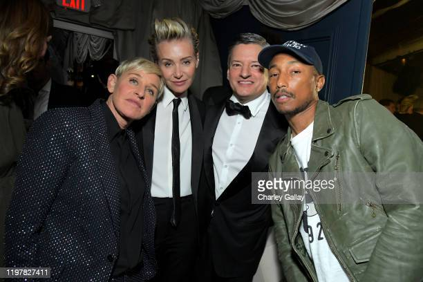 Ellen DeGeneres Portia de Rossi Netflix Chief Content Officer Ted Sarandos and Pharrell Williams attend the Netflix 2020 Golden Globes After Party on...