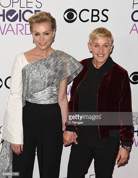 Ellen DeGeneres Portia de Rossi poses at the People's Choice Awards 2017 at Microsoft Theater on January 18 2017 in Los Angeles California