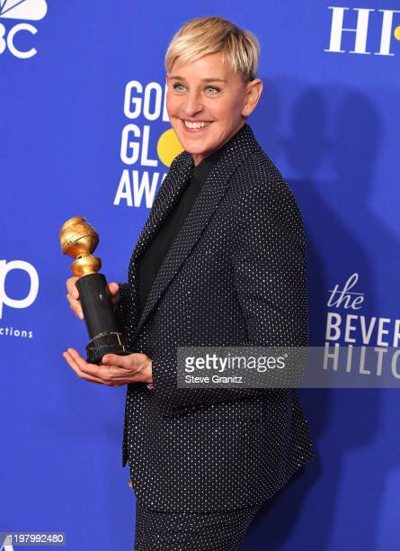 Ellen Degeneres poses in the press room at the 77th Annual Golden Globe Awards at The Beverly Hilton Hotel on January 05, 2020 in Beverly Hills,...