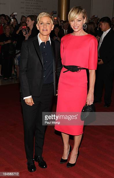 Ellen DeGeneres recipient of the prize for humor and her wife Portia de Rossi arrive at the 15th Annual Mark Twain Prize at the John F Kennedy Center...